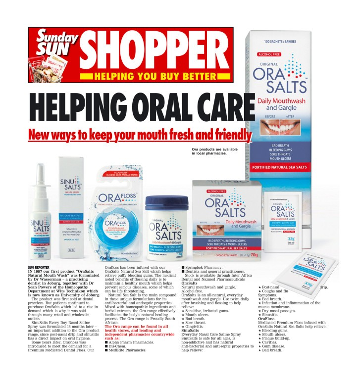 Sunday Sun promoting Oral Health with Oralink