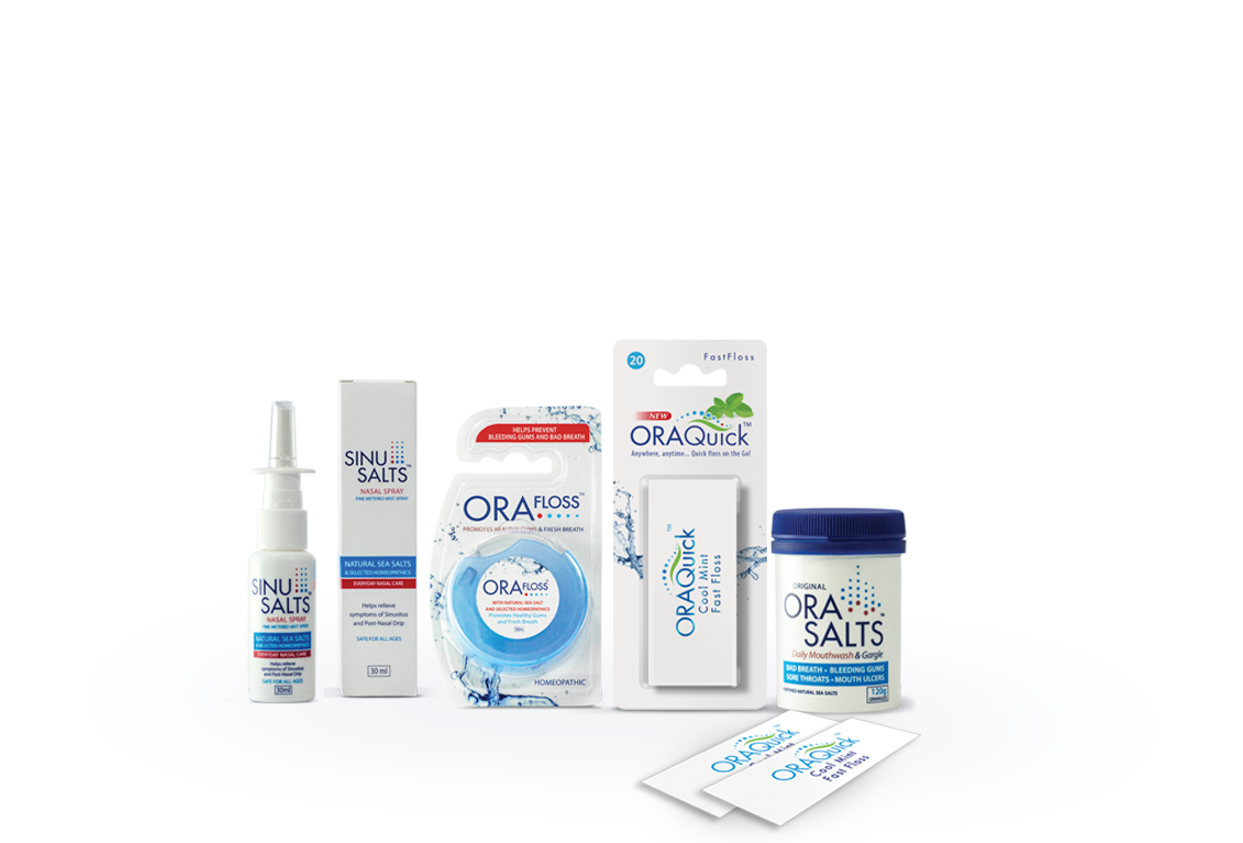 Sinusalts, Orafloss, OraQuick Fast Floss and Orasalts - OraLink range of all-natural Oral Care products